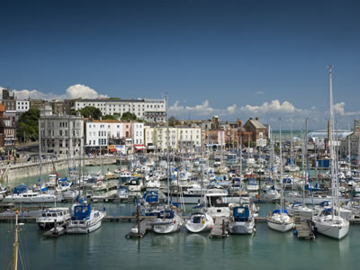 The bustling harbour at Ramsgate is a perfect backdrop for a drink or meal.